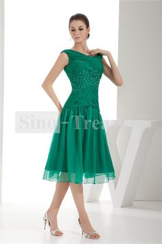 Grass Green V-neck A-line Capped Sleeves Tea-Length Chiffon Mother of the Bride Dress 002