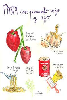 Tallarines con salsa de pimiento rojo y ajo  - Gastro Andalusi
