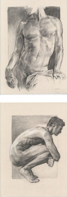 There are my charcoal male nudes, standing and crouched, original drawing, so you can see the beauty of male naked body.