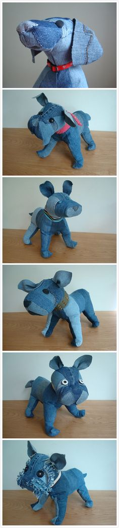 upcycled denim stuffed dog dolls from The BusyBeehive