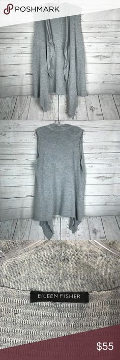 """Eileen Fisher Sleeveless Cardigan Vest There is no size tag, but it ranges from a size medium to a large. Length from shoulder to bottom hem: 30"""", (asymmetrical length):38"""". Apart from a missing size tag. It is in great condition no flaws at all. This vest is gray with a hint of blue speckles. See pictures for details. Eileen Fisher Jackets & Coats Vests"""