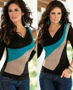 Blusa Tania 9114 Moderna en viscosa, cuello drapeado, diseño asimétrico, manga 3/4, en combinación de colores. CH,MED,GDE,XG Precio $ 289.00 no incluye envio Modest Outfits, Dress Outfits, Cool Outfits, Casual Outfits, Petite T Shirts, Western Outfits, Fall Winter Outfits, Blouse Designs, Nice Dresses