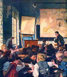 Carl Hertel - Schulstube während des Geographieunterunterrichts