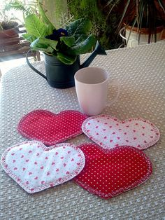 COASTERS MUG RUGS Valentines mini quilted Sweetest by AuntiJoJos, $15.00