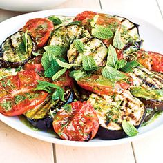 Grilled Eggplant and Tomato Salad. If you're serving these vegetables with grilled ribs, grill the vegetables first. They're good eaten at room temperature.