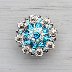Crystal Drawer Knob with Turquoise and light blue by DaRosa, $10.00