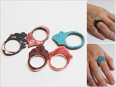 Colored Rings ~ Candelaria Orfebreria ~ enameled copper, engraved and oxidized