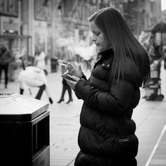 #Smoking & Texting   Smoke Signal Candid street portrait taken in #Glasgow, Scotland. © Leanne #Boulton