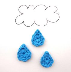 Little Raindrops - free crochet applique pattern