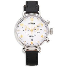 Shinola Runwell Black Essex Glacier Leather Strap Watch (1 275 AUD) ❤ liked on Polyvore featuring jewelry, watches, apparel & accessories, white, white wrist watch, polish jewelry, stainless steel watches, bezel watches and white face watches