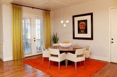 orange rug to ancor it down