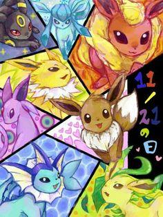 Eevee evolutions, Flareon, Jolteon, Glaceon, Leafeon, Umbreon, Espeon, Vaporeon, cute, text; Pokémon