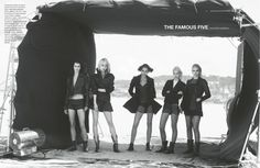 'The Famous Five' - Aymeline Valade, Catherine McNeil, Sasha Luss, Daphne Groeneveld and Soo Joo by Peter Lindbergh for Numéro October 2013
