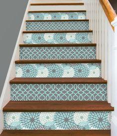 Stair Riser Sticker Strips Removable Vinyl Peel & Stick for 15 steps Floral Old Basement, Basement Stairs, Stair Risers, Interior Exterior, Interior Stairs, Adhesive Vinyl, Adhesive Wallpaper, Tile Design, Stairways