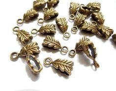 10 Antique Bronze Leaf Bails
