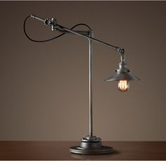 Jonathan's choice for the bedside lamps -- RH 20th C. Factory Filament Metal Shade Task Lamp