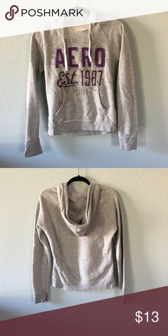 Aeropostale Purple/Grey Hoodie aeropostale light grey and purple hoodie. super soft and comfy. marked a medium but could fit a small also. in perfect condition. 15% off bundles of 3+ items. item is cheaper on my depop @jillianalice Aeropostale Jackets & Coats