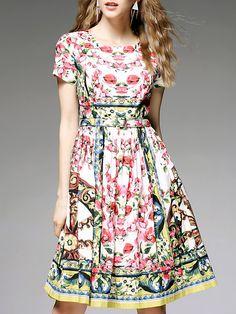 Multicolor Vintage Cotton A-line Midi Dress with Belt stylewe.com $128
