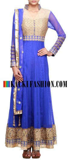 Buy Online from the link below. We ship worldwide (Free Shipping over US$100)  http://www.kalkifashion.com/blue-anarkali-suit-embroidered-in-thread-and-sequence-only-on-kaki.html
