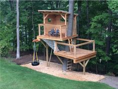 multi-level tree house w/swing