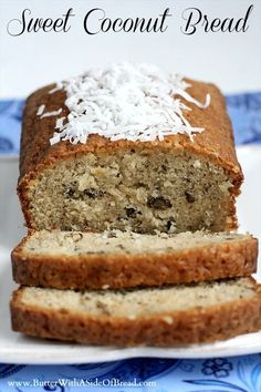Sweet Coconut Bread ~ Butter with a Side of Bread Coconut Bread Recipe, Coconut Recipes, Buttermilk Recipes, Banana Bread Recipes, Fun Easy Recipes, Sweet Recipes, Popular Recipes, Delicious Desserts, Dessert Recipes