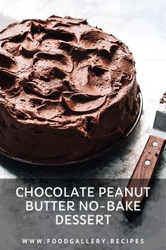 Layers of chocolate and peanut butter make up this tempting no-bake dessert. Cake Recipes At Home, Delicious Cake Recipes, Homemade Cake Recipes, Best Cake Recipes, Yummy Cakes, Bread Recipes, Easy Recipes, Peanut Butter No Bake, Chocolate Peanut Butter