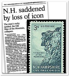 """New Hampshire was saddened when the """"Old Man of the Mountain,"""" a granite rock formation in the White Mountains that had been the N.H. state emblem since 1945, suddenly collapsed on 3 May 2003. Read more on the GenealogyBank blog: """"N.H.'s Old Man of the Mountain Collapsed 10 Years Ago Today."""""""