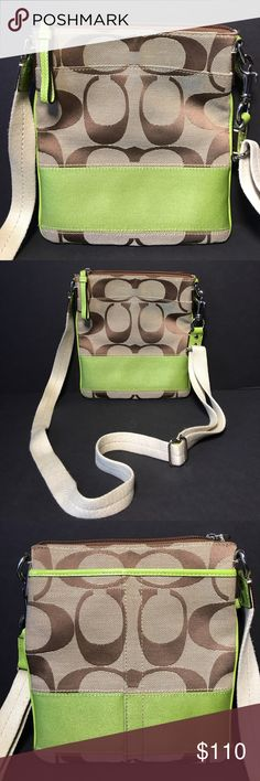 "Coach Lime Green Stripe Cross Body Handbag Coach Lime Green Stripe Cross Body Handbag 9"" X 7.5"" X 1"" Coach Bags Crossbody Bags"