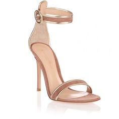Gianvito Rossi Dark Nude and Gold Suede Sandal (€400) ❤ liked on Polyvore featuring shoes, sandals, heels, momma shoes, beige, heeled sandals, gold heeled sandals, nude sandals, suede sandals and high heel stilettos