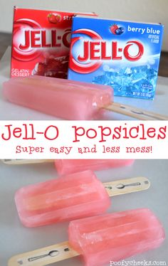 Jell-O Popsicles - Recipe for jello-o popsicles that don't melt into a mess like regular popsicles!