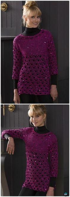 Crochet Glitz and Glamour Tunic Free Pattern - Crochet Women Pullover Sweater Free Patterns