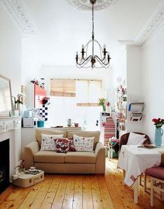 Small Studio Apartment Decorating Tips: White walls give a small studio a more spacious feel.
