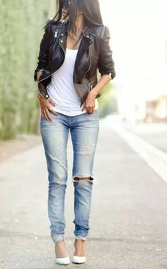 light faded skinny jeans , white pointy heel and biker leather jacket, messy hair. easy quick outfit ad yet you look fabulous