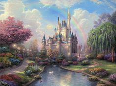 Disney Oil Paintings Thomas Kinkade New Day at the Cinderella Castle Giclee Art Print On Canvas 16X24 inch no frame on Etsy, $46.00