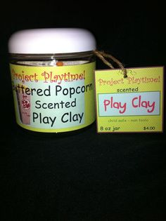 """popcorn scented play clay """"playdough"""" party favor"""