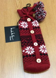 Nicole Miller Home Sweater Wine Bottle Fleece Bag Cover Red Snow Flake Button  #NicoleMiller