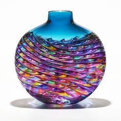 Optic Rib Flat in Violet Multi with Aquamarine by Michael Trimpol and Monique LaJeunesse: Art Glass Vase available at www.artfulhome.com