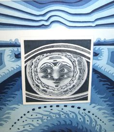 """handsigniert vom Künstler Wolfgang Hutter 41 / 100 Titel: """"Mondgesicht"""" 41 x 51 cm #wolfganghutter #radierung #farbradierung #mondgesicht #etching #hutter #moonface"""