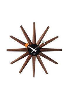 Mid-Century Modern Wooden Wall Sunburst Clock
