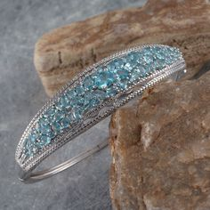 Madagascar Paraiba Apatite and White Topaz Bangle in Platinum Overlay Sterling Silver (Nickel Free)