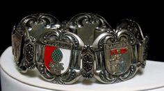 Vintage Art Nouveau Enamel Germany Coat of Arm Book Chain Link Souvenir Bracelet #UnsignedBeauty #ArtNouveaBookChainLinkGermanyTravelBracelet
