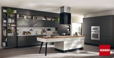 MOTUS Kitchen by Scavolini, available at Stoneworld Kitchens. The shaped island has a retro look to it that's right on trend