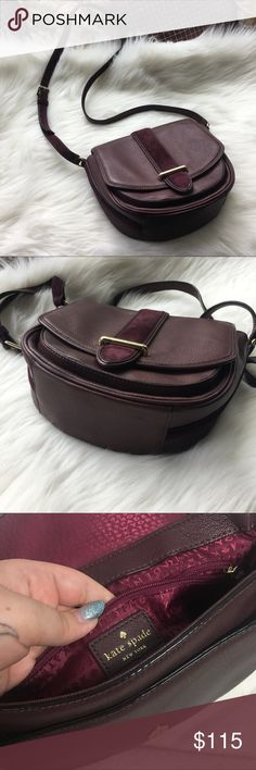 """Kate Spade Hunts Place Marsi Crossbody Purse In the color: mulled wine. Condition: hardy use only signs of wear is the small scuff on the corner of the flap as shown in the last photo. Strap drop: 22"""". 9.5"""" W x 8.5""""H x 3.5""""D. Goat Leather and Suede trip. 'Kate spade new York' engraved on the front gold bar. Open to offers and bundles! kate spade Bags Crossbody Bags"""