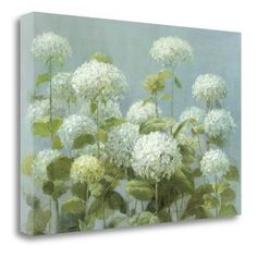 Tangletown Fine Art 'White Hydrangea Garden' by Danhui Nai Painting Print on Wrapped Canvas