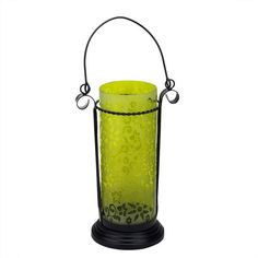 "11.5"" Decorative Yellow Glass Hurricane Tea Light Candle Holder Lantern with Flower Etching"