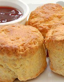 Devonshire Scones With Self Rising Flour, Baking Powder, Butter, Caster Sugar, Eggs, Milk