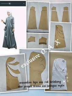 Pola bj draperi Long Dress Patterns, Dress Making Patterns, Clothing Patterns, Sewing Patterns, Abaya Pattern, Fancy Dress Design, Muslim Dress, Mode Hijab, Custom Dresses