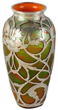 A stunning 10½-inch art glass vase with silver overlay, possibly of Austrian origin
