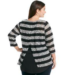 AGB® Stripe Mixed Media High-Low Top at www.bonton.com