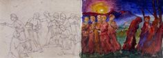 The Wise and Foolish Virgins by Phoebe Anna Traquair/ Water+Pigment+Paper Exhibition at the AGGV Watercolour, Watercolor Paintings, Local History, Art Gallery, Anna, Paper, Artist, Watercolor, Watercolor Painting